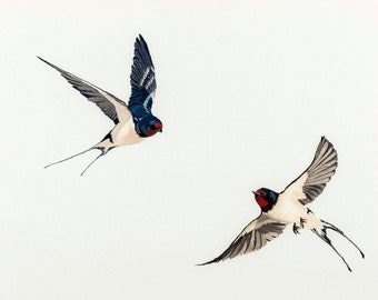 Swallows Embroidery Giclée Fine Art Print