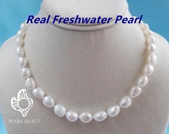 Baroque pearl necklace real pearl necklace,big pearl necklace,big freshwater pearl necklace baroque pearl necklace