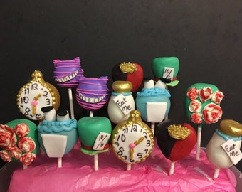 12 alice in wonderland inspired cake pops
