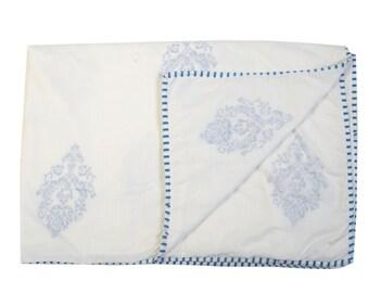 MUGHAL BLUE Dohars Summer Blanket Handblock Printed Cotton Muslin