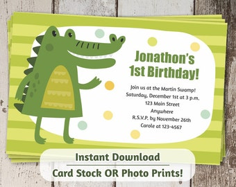 Alligator Invitation for First Birthday - Printable Boys Alligator 1st Party instant digital file download - photo prints or card stock