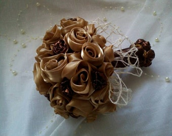 small bridal bouquet for the bridesmaids to order your own design hand made  satin organza roses flowers