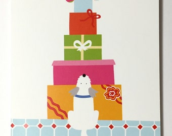 Birthday greeting card, the dog and the pile of presents