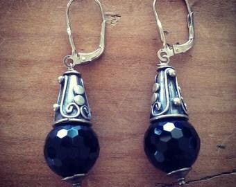 European Hook and Agate Black Bead Sterling Silver Earrings 54mm