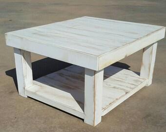 Reclaimed wood coffee table with lower shelf - farmhouse coffee table - rustic table - farmhouse furniture - farmhouse decor -
