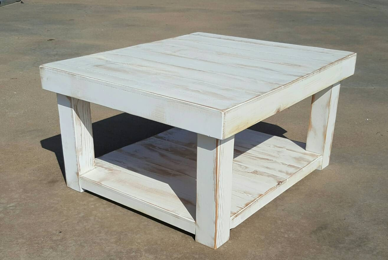 Shabby Chic Farmhouse Coffee Table With White Distressed
