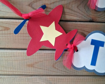 Airplane Birthday Banner - party supplies - time flies party - boys party decor