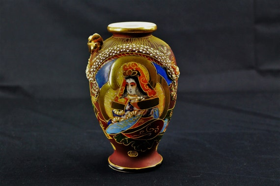 Vintage-Satsuma Vase-Hand Painted Dragonware-Made in Japan-Circa 1920's-1930's