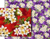 "Floral Fabric Tropical, Plumeria Clusters, Frangipani, Red, Purple, Quilting Quality Cotton Fabric, 45""Wide, HC9577/HC9505"