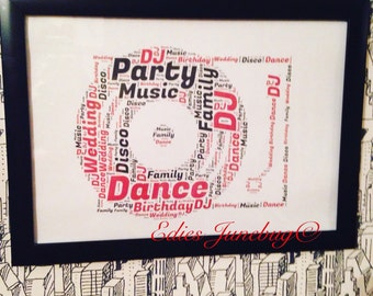 Retro Vinyl Record Player Word Art, DJ Gift, Music Lover Wall Art, Festival Inspired, Christmas Present, Gifts For Singer, Vintage Decor,