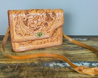 1970s Hand Tooled Leather Purse with Adjustable Strap