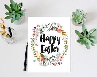 Happy Easter Printable Art Print Printable Card Spring Print Easter Print Easter Card Easter Printable Happy Easter Card Floral Wreath