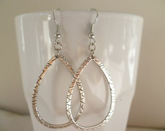 Teardrop earrings,loop earrings,silver tear drop,dropper earrings,hoop earrings,large teardrop earrings,tear drop jewellery,gift,handmade