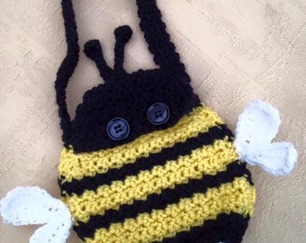Handmade crochet bumble bee bag