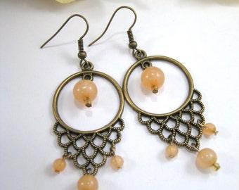 Chandelier Earrings, Dangle Earrings, Long Earrings, Peach Earrings, Beaded Earrings, Boho Earrings, Bronze Earrings