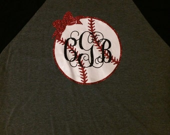 Iron-On Vinyl Monogram Baseball Decal~ Glitter Iron-On Vinyl Decal~ Iron-On Vinyl Decal~ Monogram