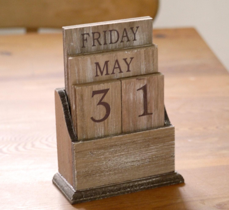 Perpetual Calendar Wood : Rustic perpetual wooden calendar