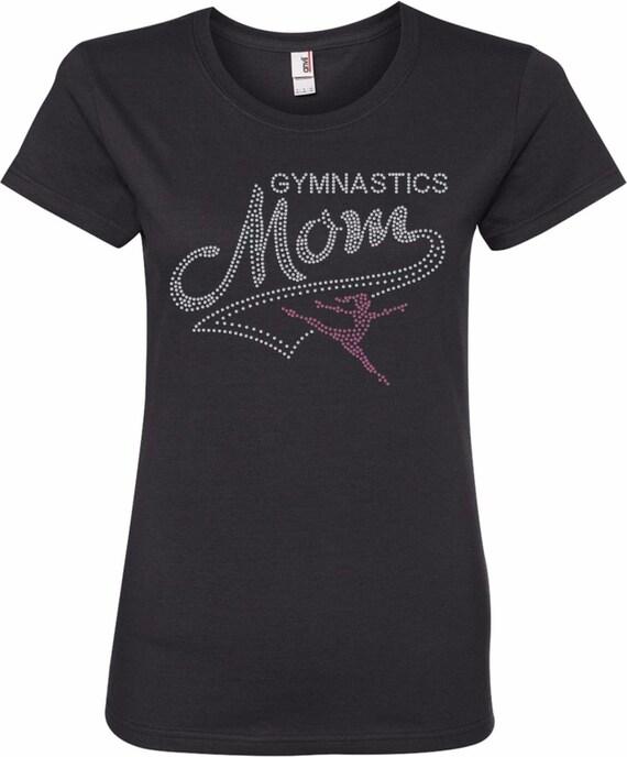 """WOMENS """"GYMNASTICS MOM"""" RHINESTONE BLING LADIES SHIRT"""