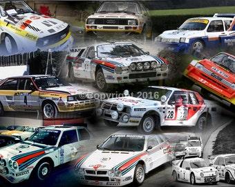 group b rally cars collage print /a4/print