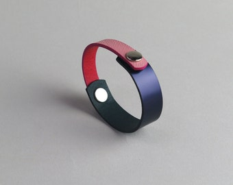Leather bracelet, two-way bracelet, box calf bracelet