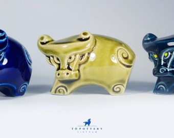 Ceramic Bull Figurine, Water Buffalo Decor