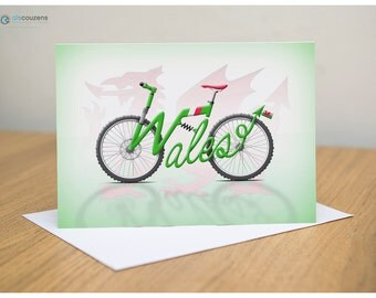 Cycling Greeting Card, Wales, Cardiff, Bicycle City Names