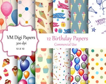 Birthday Digital Paper, Digital Paper, Birthday Paper, Birthday Background, Paper Birthday, Kids Birthday Paper