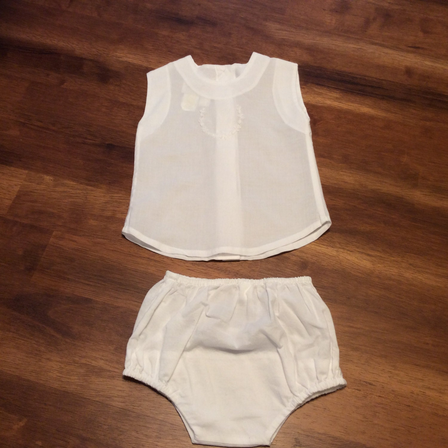 Vintage Baby Diaper Shirt And Shorts Set Newborn Embroidered