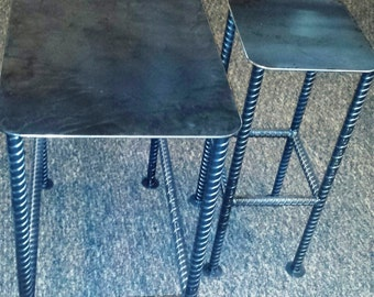 Custom Recycled Rebar Table Base with Rectangular Metal Table Top Left Bare Metal with Clear Coat Finish in Just the Size you Need