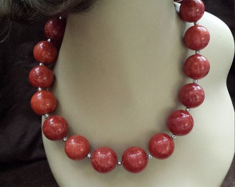 One strand beaded necklace made with sponge coral