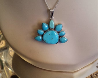 Sterling silver vintage turquoise pendant