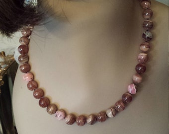 Brown natural rhodochrosite one strand 10mm necklace
