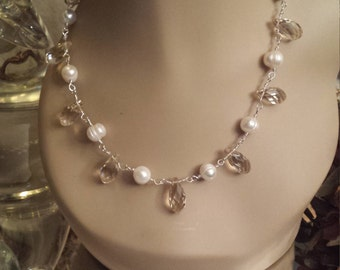 Freshwater pearl and faceted crystal teardrop necklace