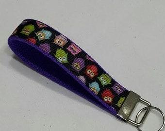 Owls Key Fob- Black purple with Owls Key Holder -Red,Pink,Lime,Purple,blue, Owls -Wristlet Key Chain .