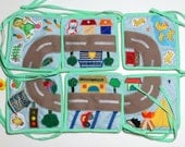 Baby play mat Children playmat Felt floor car kid road Padded baby rug Eco friendly travel toy Organic baby gift Baby activity mat House toy