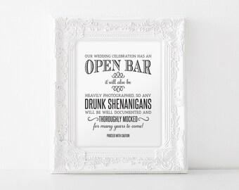 Open Bar Wedding Sign, Printable Wedding Sign, Shenanigans Sign, Funny Wedding Sign, Instant Download, 8x10, PDF Instant Download #BPB152