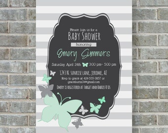 BUTTERFLIES BABY SHOWER invitation- Mint and gray baby shower invitation- Gender neutral baby shower-butterfly baby shower- printable invite