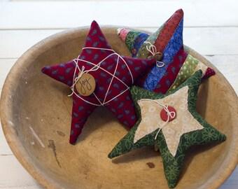 Primitive Handmade Star Bowl Fillers - Set of 3