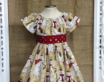 Golden Snowmen Girls Holiday Dress size 12/18m, 2T and 3T