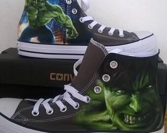 The Hulk  hand painted Converse shoes,superhero , Marvel shoes ,  incredible Hulk shoes,hand painted shoes