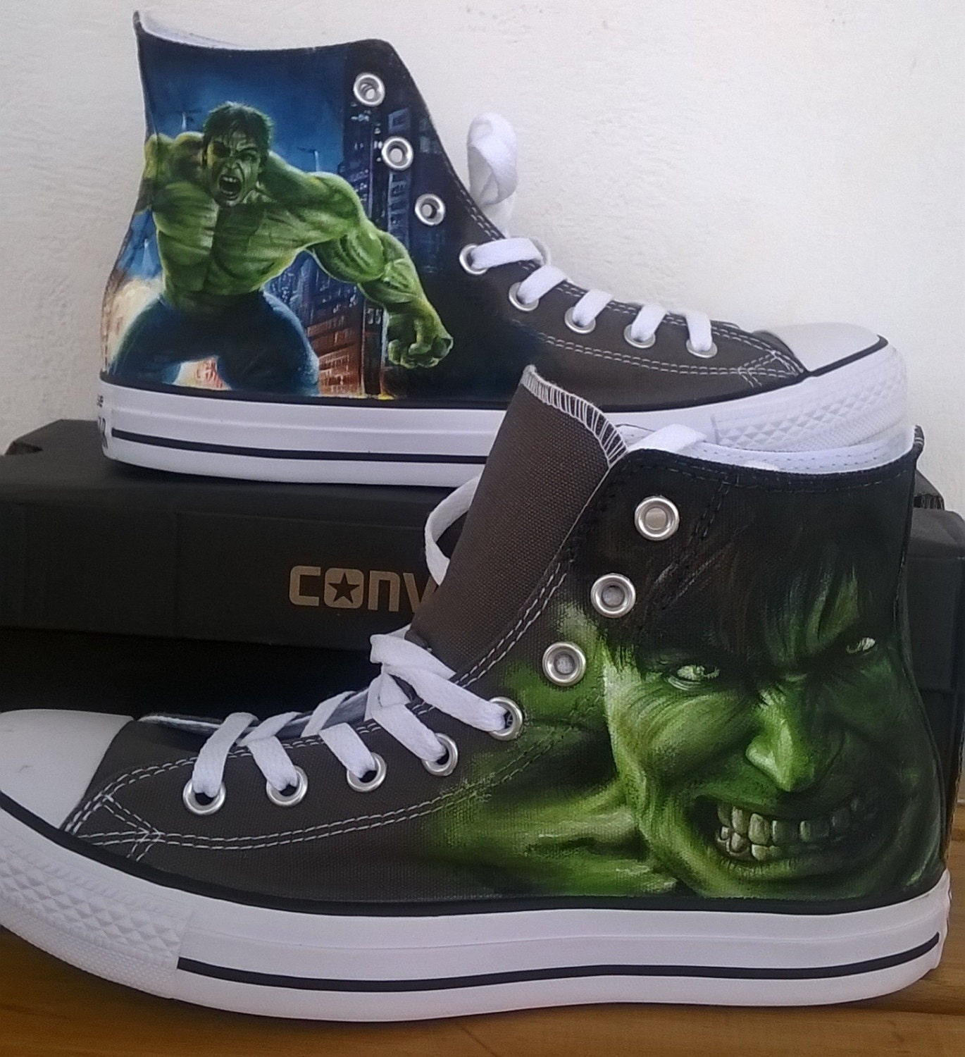 The Hulk hand painted Converse shoessuperhero Marvel shoes