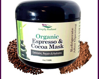 Organic Espresso Cocoa Face Mask Anti-Aging|Vegan Exfoliator, Moisturizer and Microdermabrasion