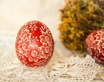 Easter Eggs, Carved Egg, Pysanky, Pysanka, Wax Embossed Easter Egg, Hand Decorated Eggs, Easter Egg, Collectibles, Folk Art, Easter Hunt