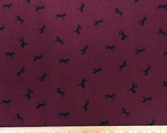 60 in w Silk charmeuse Maroon w tiny black horses Fabric by the yard