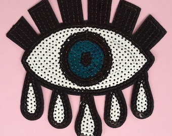 Small sequinned eye patch / applique free shipping