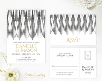 Gold and black art deco wedding Invitation set printed on shimmer cardsstock | Elegant Gatsby theme wedding invites with RSVP postcards
