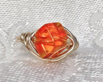 Orange Gold Beaded Wire Wrapped Ring