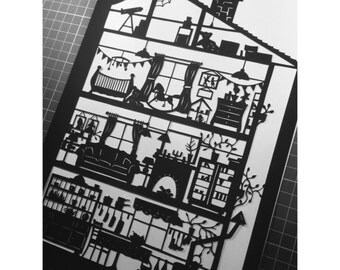 My House - Right Side -  Paper Cutting Template Personal And Commerical Use