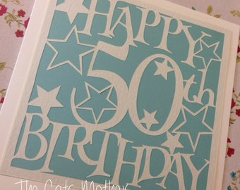 50th Birthday Stars Paper Cutting Template - Commercial Use