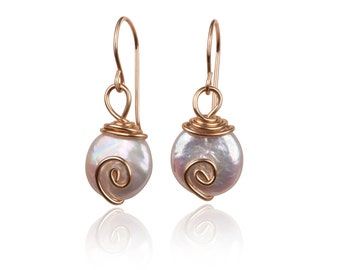 Sale- Real Classic Freshwater Pearl & goldfilled wire Earrings, Wire earrings ,  Pearl Drop Earrings